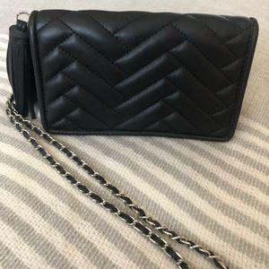 Zara black quilted chevron crossbody bag clutch
